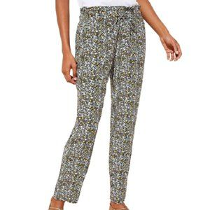 Ann Taylor LOFT Petite Floral Tapered Pants Navy